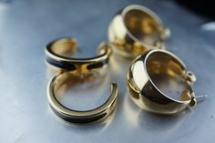Vintage Jewelry  Art  Earrings gold  tone stud set ring circle wide  circa Modernist Graceful v046 by VintageEstate86 on Etsy