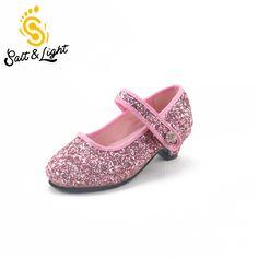 Hot Prodej děti módní flitry vysoké podpatky boty dívky princezna boty  strany neformální obuv pro děti 9a2664529c