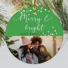 Make your Christmas tree merry and bright this year with our Merry & Bright photo ornament. #personalizedChristmasornaments #photoornaments #cutefamilyphotoornaments #cutefamilyornaments Merry And Bright, Cute Family Photos, Photo Ornaments, Personalized Christmas Ornaments, Christmas Stockings, Personalized Gifts, Christmas Bulbs, Unique Gifts, Messages