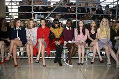 Miu Miu Fall 2014 front row: Adele Exarchopoulos, Lea Seydoux, Margot Robbie, Rihanna, Lupita Nyong'o, Elizabeth Olsen, Bella Heathcot...