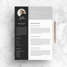 Resume Template and Cover Letter - Template References for Word DIY Printable 5 Pages The Professional Blackie and Creative Design - - Cover Letter Template, Cv Template, Resume Templates, Cv Cover Letter, Cover Letters, Printable Templates, Portfolio Design, Portfolio Site, Kreative Jobs
