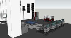 Studio fotografico. Allestimento/arredamento locale con materiali di recupero reinterpretati in una nuova funzione d'uso, con studio della suddivisione degli spazi utili all'attività.