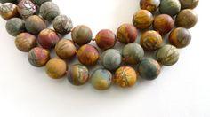 Matte Cherry Creek Jasper 1920mm round beads by sparklelittle, $36.00
