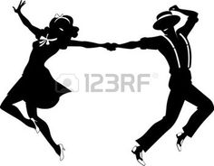 swing couple: Black vector silhouette of a couple dancing swing or tap dance no white objects EPS 8 Illustration