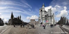 Korenmarkt, and Sint-Niklaaskerk, Gent Belgium Ghent Belgium, Photo Stitch, Cathedral, Building, Travel, Viajes, Buildings, Cathedrals, Destinations