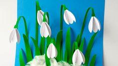 ПОДСНЕЖНИКИ Объёмная аппликация из бумаги Весенние поделки из бумаги сво... Spring Crafts For Kids, Fall Crafts, Art For Kids, Diy And Crafts, Paper Crafts, Paper Flower Backdrop, Paper Flowers Diy, Flower Crafts, Egg Carton Crafts