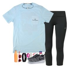 """""""Day one: Running a 5k!"""" by smbprep ❤ liked on Polyvore featuring NIKE, S'well, lululemon, Lilly Pulitzer, Fitbit, Carolee, Therapy, Bare Escentuals and springbreakformaggie"""