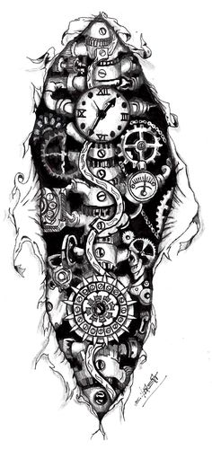 Steampunk Gears Tattoo | Steampunk Clock Tattoo Designs Steampunk cloc.