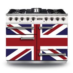 Limited edition Union Jack version the Falcon 1092 Deluxe range cooker. One Day In London, British Decor, Vintage Stoves, Union Flags, Mind The Gap, Range Cooker, British Invasion, Great British, Union Jack