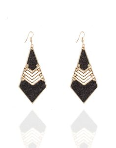 Boucles d'oreilles triangle pailleté noir femme pas cher