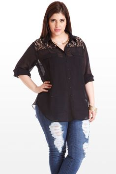 A chic sheer top that features delicate see-through lace along the front and back yokes. Button front, curved hem, and 3/4 sleeves with buttoned rollup tabs, this piece has style to spare. Perfectly put-together with a simple necklace and a casual pair of jeans.
