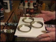 Rainbow color fluid Acrylic Pour using Canning Jar lids Acrylic Pouring Techniques, Acrylic Pouring Art, Using Acrylic Paint, Acrylic Art, Acrylic Tips, Technique Photo, Canning Jar Lids, Altered Canvas, Fluid Acrylics