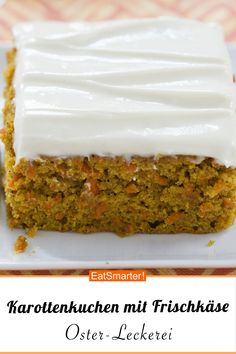 Healthy Easter cake: Carrot cake with cream cheese glaze - smarter - Calories: 233 kcal - Time: 1 hour 30 min. No Egg Desserts, Easy Easter Desserts, Easter Recipes, Healthy Cake, Healthy Dessert Recipes, Brunch Recipes, Cream Cheese Glaze, Cake With Cream Cheese, Easter Cheesecake