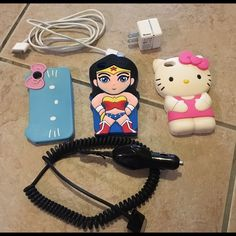 iPhone 4s Bundle iPhone 4s Bundle  7 pieces.  3 iPhone 4 silicon cases and 1 armband case. 1 home charger cable with block and 1 car rapid charger. All in excellent condition practically new this is bundle discount. If separate $10 ea chargers, $8 cases. better deal if buy bundle. originally paid $25 plus tax for chargers. Other