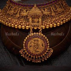 Gold Bridal Jewellery Sets, Gold Temple Jewellery, Bridal Jewelry Vintage, Indian Jewelry Sets, Jewelry Design Earrings, Antique Necklace, Chocker, Rakhi, Half Saree