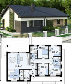 Small House Floor Plans, Family House Plans, Dream House Plans, Modern House Plans, Modern Bungalow House, Bungalow House Plans, Small Modern Home, Sims House, Small House Design