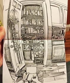 The pantry. #Inktober day 14. Hero 9076 fountain pen in Leuchtturm1917 sketchbook. #drawing #sketchbook #fisheye #wideangle #art #notebook #journal #paulheaston #fountainpen #penandink #denverartists #artistsofinstagram