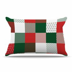 """Carolyn Greifeld """"Holiday Patchwork"""" Red Green Pillow Case"""