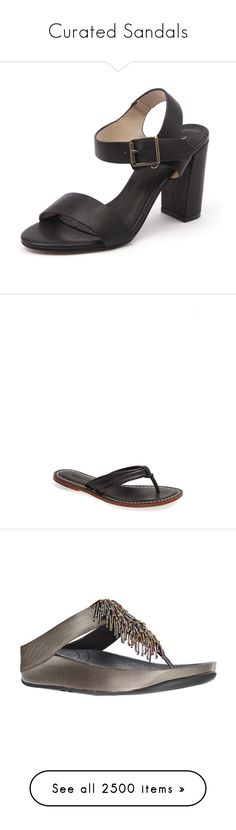 """Curated Sandals"" by image-categorizer ❤ liked on Polyvore featuring shoes, sandals, black, black flats, black flat sandals, ankle strap flats, jelly flats, thong sandals, summer shoes and black sandals"