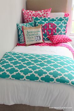 Jamming Jade Meets Preppy Pink Designer Teen & Dorm Bed in a Bag   Teen Girl Dorm Room Bedding