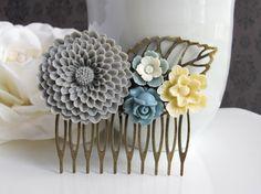 Large Grey Chrysanthemum, Ivory Sakura, Grey rose, Grey White Flower Hair Comb Accessory. Bridal Wedding Jewelry by AnnMichTreasureBox, $26.00