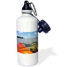 3dRose Belize, Caribbean Sea. Kayaking on the barrier reef., Sports Water Bottle, 21oz