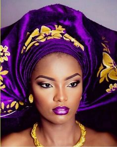 Stunning purple and yellow gold Nigerian Gele