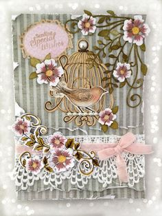 PolkaDoodles Belle Papillon kit - distressed papers, die cuts, lace - lovely!