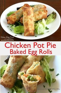 Chicken Pot Pie Baked Egg Rolls Air Fryer Recipe Air Fryer recipe for Chicken Pot Pie Baked Egg Rolls, better than take out, not greasy and a bit healthy appetizer, game day snacks. Click thru for easy recipe. Air Fry Recipes, Egg Roll Recipes, Air Fryer Recipes Easy, Cooking Recipes, Healthy Recipes, Cooking Tips, Air Fryer Egg Roll Recipe, Fish Recipes, Healthy Appetizers