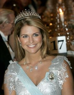 Princess Madeleine of Sweden wears the Diamond Fringe Tiara
