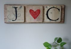 Tiled Heart Sign. $30.00, via Etsy. Perfect for that special couple!