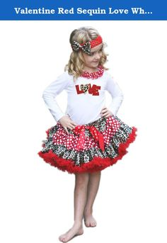 "Valentine Red Sequin Love White Top Leopard Skirt Girl Clothing Outfit 1-8y (5-6t). product includes: a pettiskirt, top (not include other accessory) top size chart Sizes: XS, 1-2Year , Chest(Circumference)16""-20"", Top Length 14.5"" Sizes: S, 3-4Year , Chest(Circumference)17""-21"", Top Length 15.5"" Sizes: M, 4-5Year , Chest(Circumference)18""-22"", Top Length 16.5"" Sizes: L, 5-6Year , Chest(Circumference)19""-23"", Top Length 17.5"" Sizes: XL, 6-8Year , Chest(Circumference)20""-24"", Top Length…"