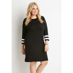 Forever 21 Plus Striped-Sleeve Shift Dress (26 CAD) ❤ liked on Polyvore featuring dresses, 3/4 sleeve shift dress, sporty dresses, forever 21 dresses, striped dress and forever 21
