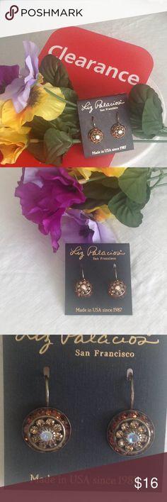 Jewelry - Designer Earrings 🌸 Antique Brass Designer Earrings in Topaz, citrine & rainbow Swarovski Elements.  Very Stylish!🌺 Liz Palacios Jewelry Earrings