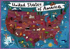 Karte von USA - Nordamerika - Digital Poster drucken Karte Illustration für Kinder