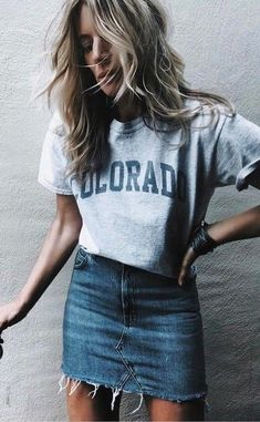 #fall #outfits  women's gray Colorado t-shirt and blue-washed mini skirt