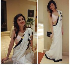 Divya Khosla Kumar in white saree Indian Attire, Indian Ethnic Wear, Indian Style, Indian Dresses, Indian Outfits, Indian Saris, Farewell Sarees, Simple Sarees, Stylish Sarees