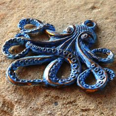 CTHULHU octopus pendant  blue patina 1 pc by PatinaWorx on Etsy, $5.00