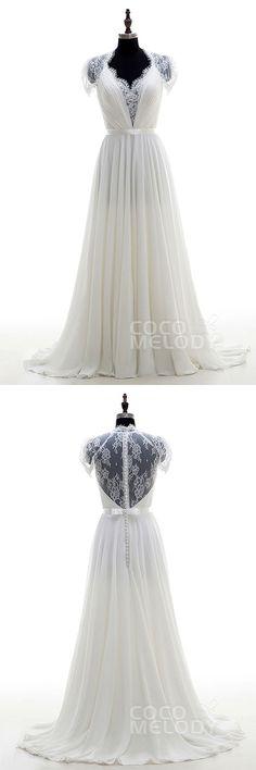 $269,Sheath-Column V-Neck Ivory Short Sleeve Wedding Dress s LD2676. #weddingdresses #customdresses #cocomelody #beachweddingdresses