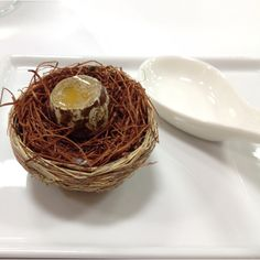 Quail egg... Made with passion fruit. Created by Aaron Verzosa at the Modernist Cuisine lab