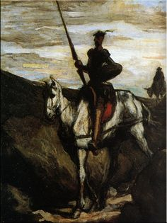 Honore Daumier >>> One in his Don Quixote series. Poor Sancho Panza, lost in the background...