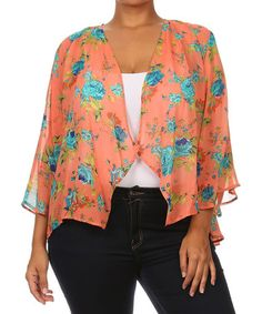 This Coral Floral Open Cardigan - Plus is perfect! #zulilyfinds