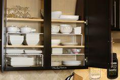 All white dinnerware. Miss Liz Heart: Home decor Kitchen Dining, Kitchen Decor, Kitchen Ideas, Dining Room, White Dinnerware, Kitchen Organization, Organization Ideas, Wire Shelving, White Cabinets