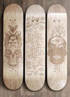 Laser Etched Skateboard Series 2013 by Malte Schweers #skate #skateboard