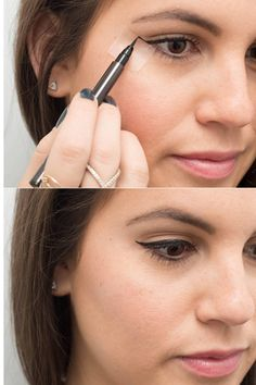 Eyeliner Hacks To Transform Your Beauty Routine Never let your winged liner make you late again: 22 eyeliner hacks to try now.Never let your winged liner make you late again: 22 eyeliner hacks to try now. Eyeliner Make-up, Eyeliner Hacks, How To Apply Eyeliner, Eyeliner Ideas, Applying Eyeliner, Bottom Eyeliner, Eyebrows, Mascara Tips, Beauty Make-up