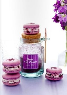 Violet macaroons. http://thebookofsecrets.tumblr.com/post/6826816123/violet-macarons-by-mowiekay-magazine