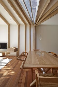"""Love the skylight, Not sure about the plank-like beams coming down the walls.  Maybe on the walls put shelves or cabinets so that ~12"""" of the room is put to great purpose for storage? Would have to have open shelving immediately below the ceiling or lose the effect entirely though?   Love the table and the floor too"""
