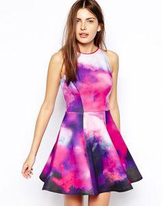 8c5b5dd7f5 Ted Baker Nim Dress in Summer Dusk Print Neoprene in Purple (Grey) - Lyst