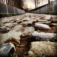 Oude Kwaremont, Ronde Van Vlaanderen. This is a part of the road the top cyclists have to ride over for many miles! For a lot of them, winning this tour of Flanders is one their most beautiful victories in their prof career! It's the most difficult........