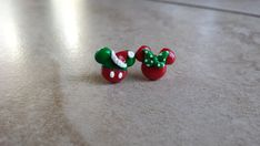 Holiday Mickey Mouse and Minnie Mouse Inspired earrings